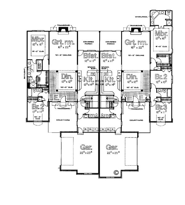 Traditional multi family plan 99427 traditional floors for Multi family home floor plans