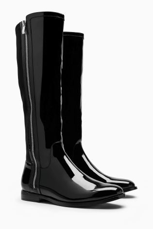 $126 Buy Black Patent Zip Rider Boots online today at Next: Canada