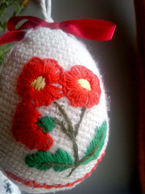 Vintage style Easter Egg in red by EdlabShop on Etsy