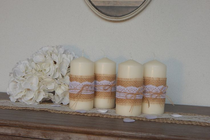 Candele decorate Shabby Chic set di nr. 4 candele - centrotavola - matrimonio -  Decorated candles Shabby Chic nr. 4 candles - Centerpiece di LUCIDELNORD su Etsy