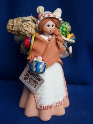 artesana muñecas y muñecos tipicos y costumbrista arcilla,fibras vegetales,cesteria amasado barro,horneado