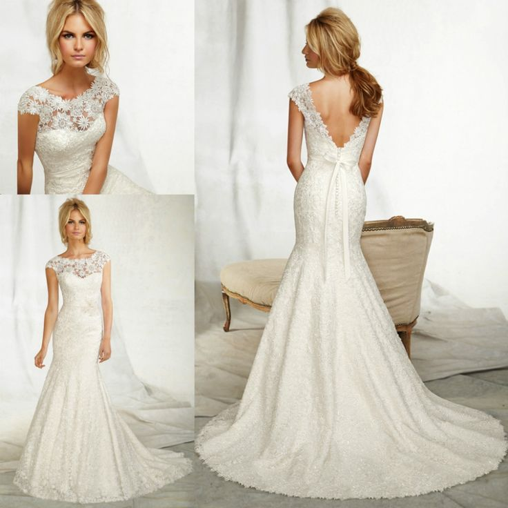 Find More Wedding Dresses Information About WRL074 Cap Sleeve Trumpet Style Lace Sexy Low Back