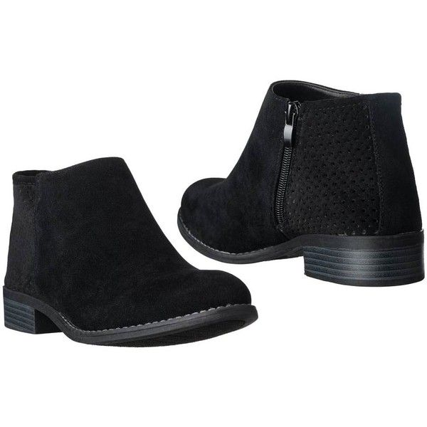Women's Riverberry Womens 'Jena' Cut out Heel Short Booties 6 Medium (110 PEN) ❤ liked on Polyvore featuring shoes, boots, ankle booties, black, boots & booties, mesh booties, short ankle boots, short boots, short black booties and mesh ankle boots