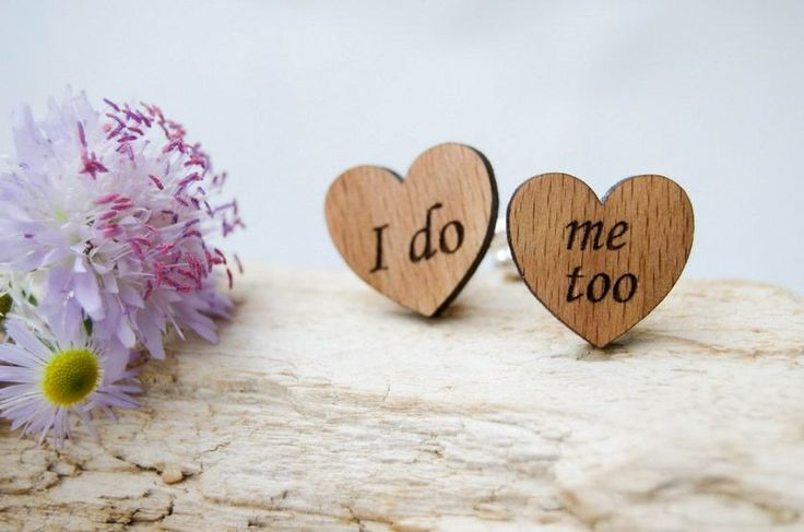 Wedding wooden Hearts Cufflinks