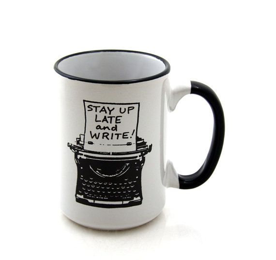Writers Mug with Typewriter Funny Gift for Author or by LennyMud, $16.00