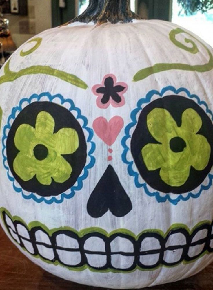 It's Halloween season! So this year why not try your hand at something a little different and get painting pumpkins? Need some inspiration? We've picked some amazing pumpkin art from Instagram to get those creative juices flowing... This creepy sugar skull painting is by @Cosmic_cate