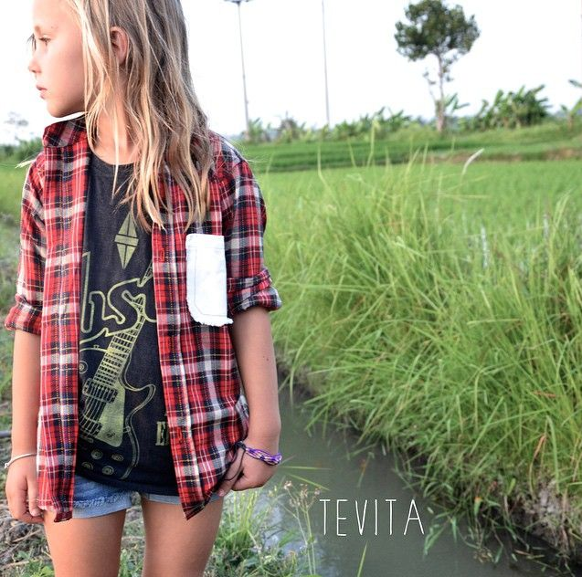 Tevita clothing / kids fashion / kids cute clothing / boys and girls unisex / t-shirt / tee / checkered flanny / made in bali / cute girl / surf street style