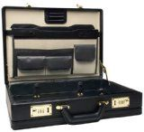 RoadPro CAP-003PM/BK Premium Black Leather-Like Expandable Briefcase