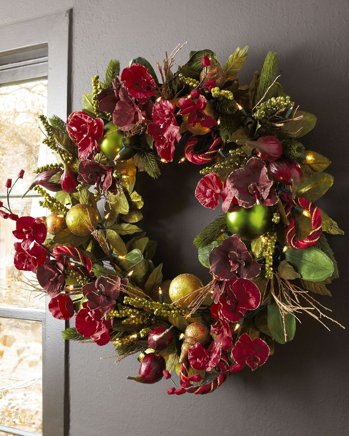 """Bordeaux"" Pre-Lit Christmas Wreath. Exclusively ours.An abundance of deep red-flowers, lush greenery, and green and gold ball ornaments come together with twinkling lights to add rich color and shimmery highlights to the Christmas season. And it's pre-lit, so there is less hassle to holiday decorating. {affiliate link}"