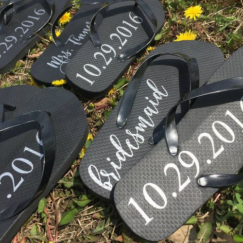 Personalized Bride and Date Flip Flops