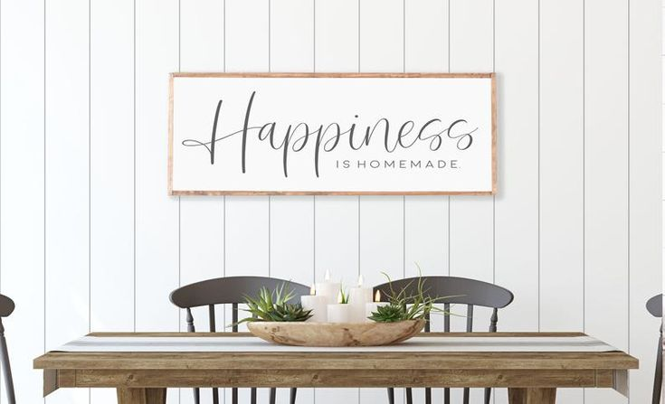 Happiness Is Homemade Sign,Wood Framed Rustic Vintage Farmhouse,Living Room Wall Decor,Handmade Wood Sign,Framed Sign,Wooden Sayings