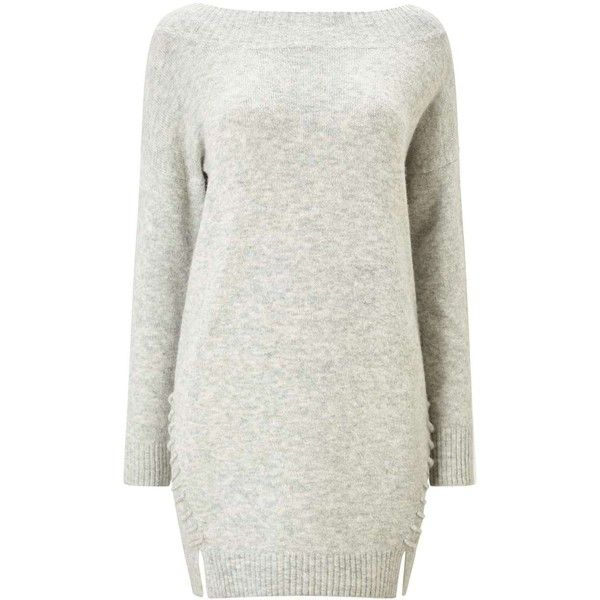 Miss Selfridge PETITE Grey Knitted Jumper Dress ($76) ❤ liked on Polyvore featuring dresses, grey, petite, grey dress, miss selfridge, gray dresses, petite dresses and miss selfridge dresses