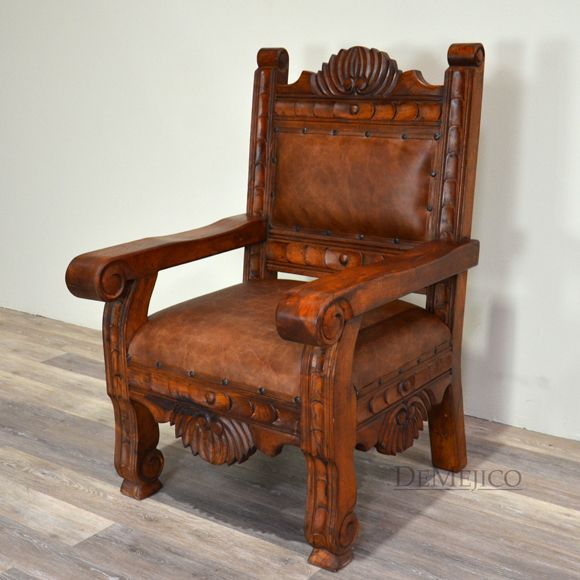 Charming Inspired By Southwest Furniture Styles, The Santa Fe Single Seat Is Made  From Mesquite. Southwestern Chairs, With Carved Details, Smooth Leather.