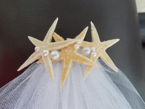Starfish veil clip bachellorette and beach wedding  for new  Bride to be , Bride Gift, Bridal Shower and  Bachelorette Gift on Etsy, $15.00