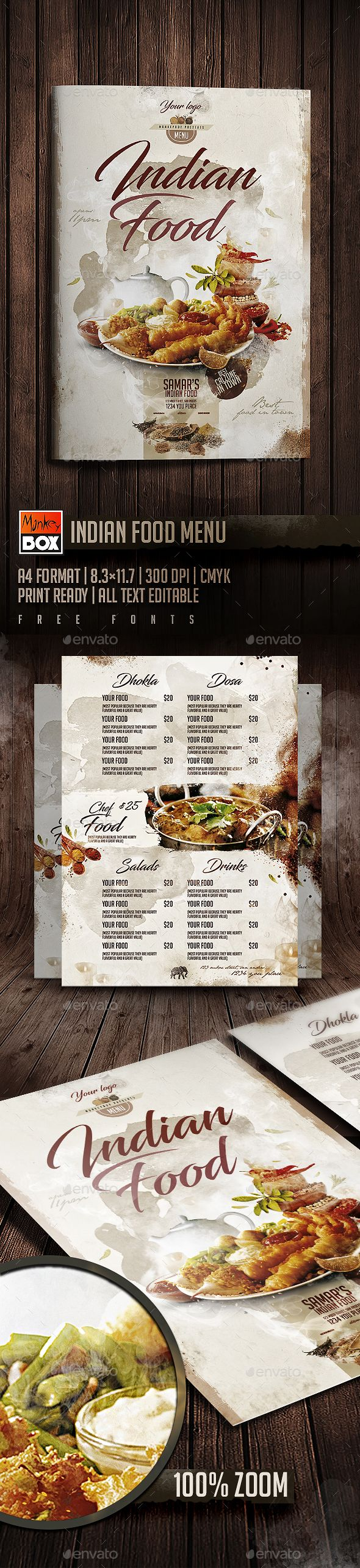 Indian Food Menu — Photoshop PSD #8.3x11.7 #menu • Download ➝ https://graphicriver.net/item/indian-food-menu/19736329?ref=pxcr
