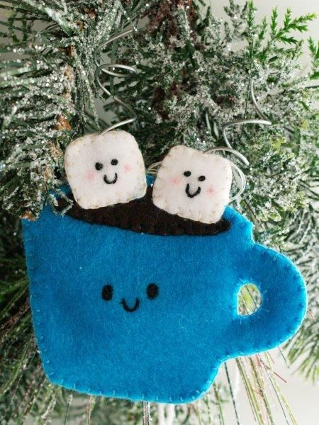 Felt Hot Cocoa Ornament - Warm up with a calorie-free cup of cocoa! Sew a Christmas ornament that's simple and cute.
