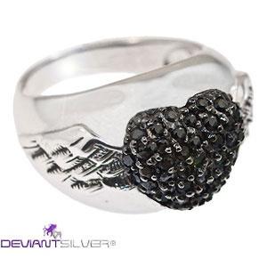 ANELLO ARGENTO 925 GIOIELLO ALI ANGELO CUORE ZIRCONI NERI  http://www.deviantsilver.com/angel-love-anello-argento-925-gioiello-ali-angelo-cuore-zirconi-neri-p-260.html