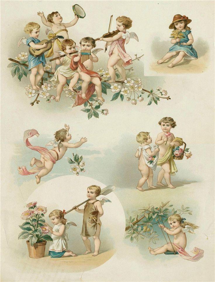 Картинки для декупажа ангелы ретро, детям