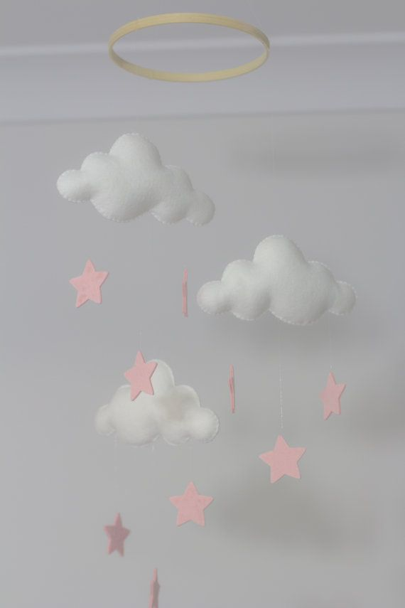 Welcome to  Haven and Willow  =========================================  White and Pale Pink Stars Cloud Mobile  Clouds and Stars made of 100%