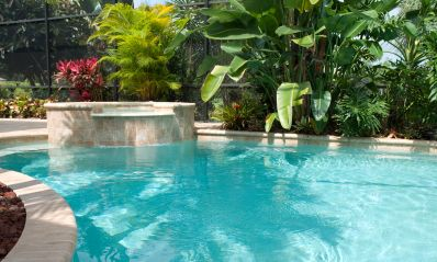 Ultra-light blue pools work well with tropical backyard themes.