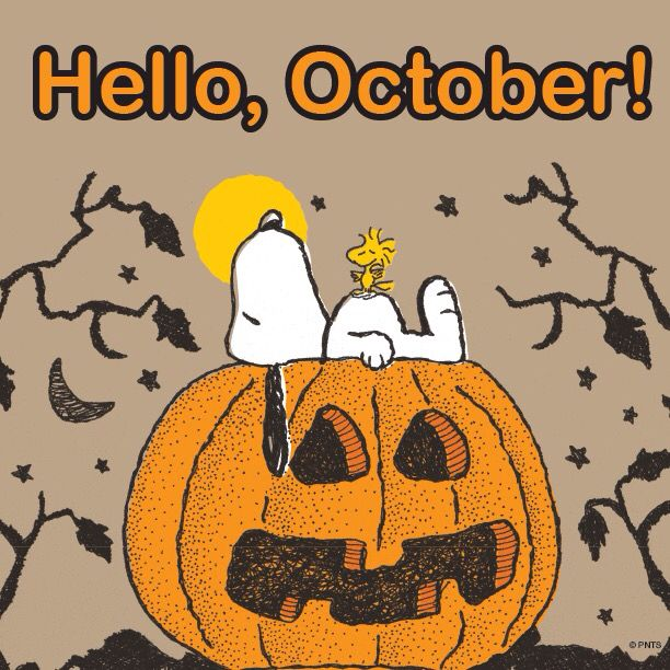 Hello October - Snoopy and Woodstock Lying on Top of a Jack-O-Lantern
