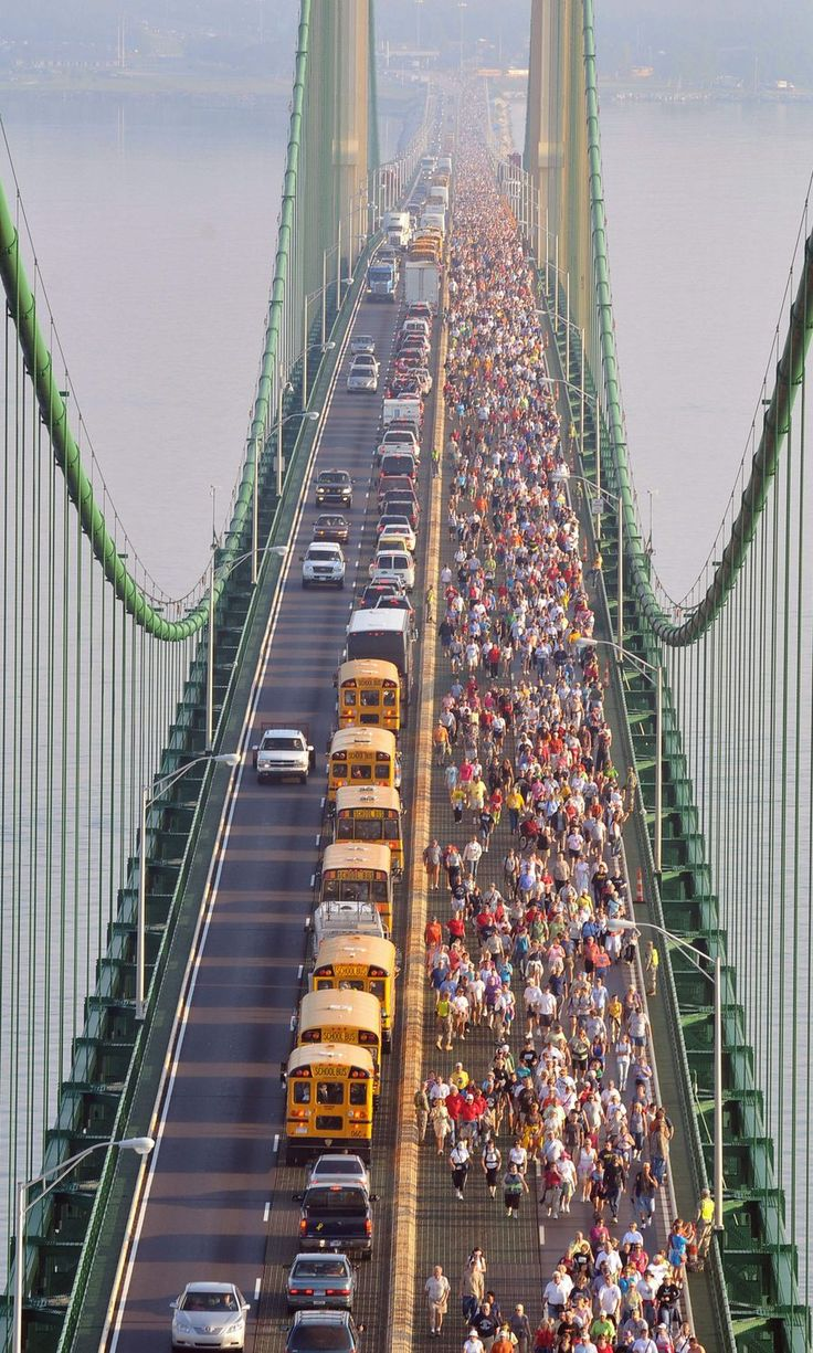 """Mackinaw Bridge Walk on Labor Day...I remember doing this as a kid with my family. Haha """"i don't need no 'dang' certificate..."""""""