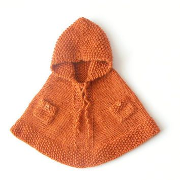 Hand Knit Poncho With Pockets / Girl Orange Hooded Cape / Custom Alpaca Poncho / Baby, Toddler Winter Clothes / Made To Order