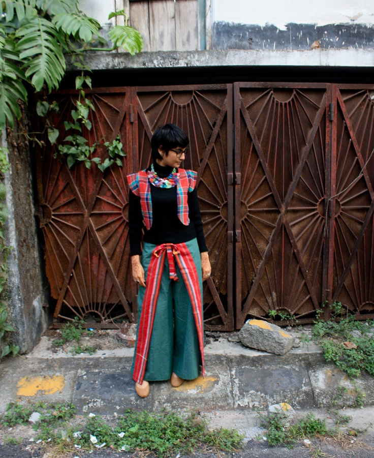 Gamchcha cropped jacket, Lungi wraps, Handmade choker from SANJUKTA