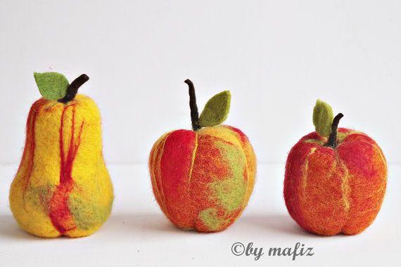 Apple Pear great fruit decoration fruit felt by mafiz on Etsy