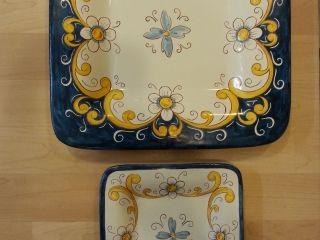 """(CODICE ARTICOLO: PIQ/05) Piatti murali quadrati dipinti a mano decoro """"Fiore classico blu"""". Tecnica: maiolica."""