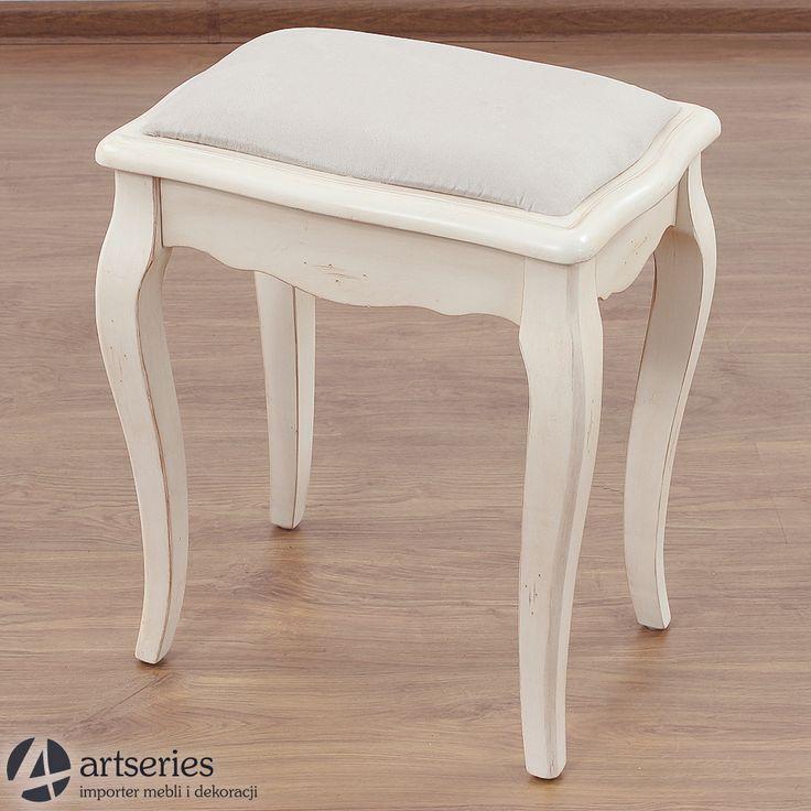 Taboret z beżową tapicerką, 120004 mebel, krzesełko Prowansja - Artseries