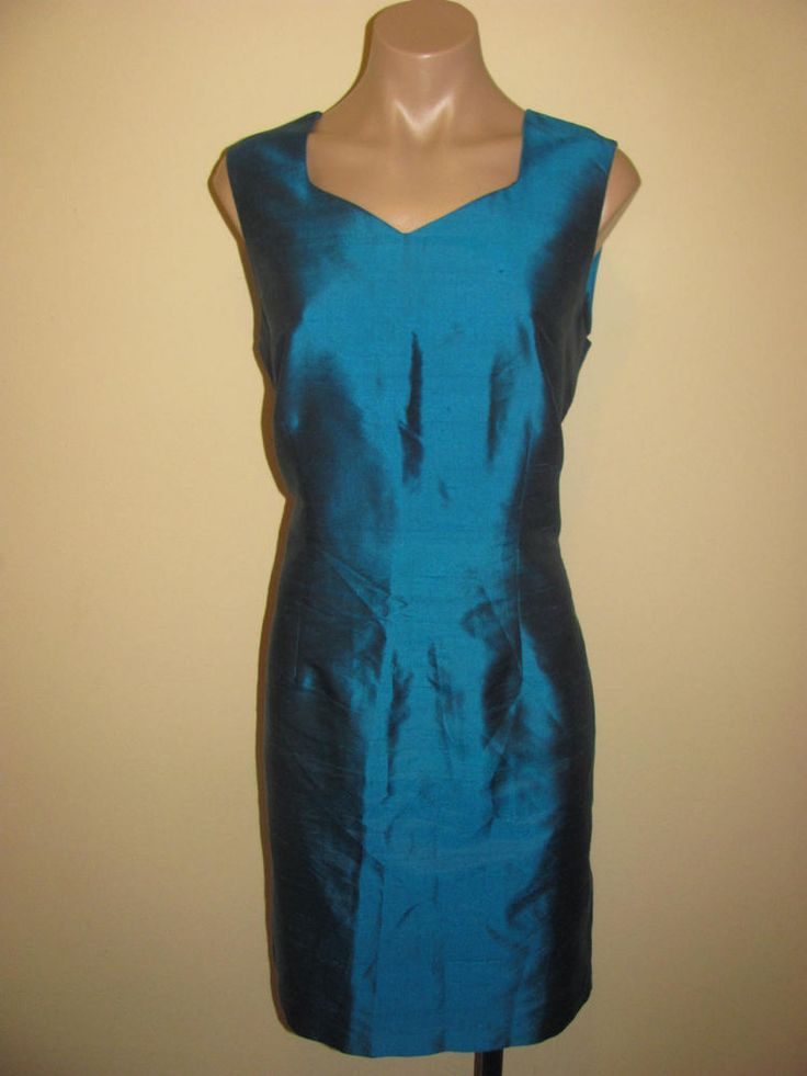 Worthington Teal Green Dress Size 10 Womens 100% Silk Sleeveless V-Neck Sheath #Worthington #Sheath #Cocktail