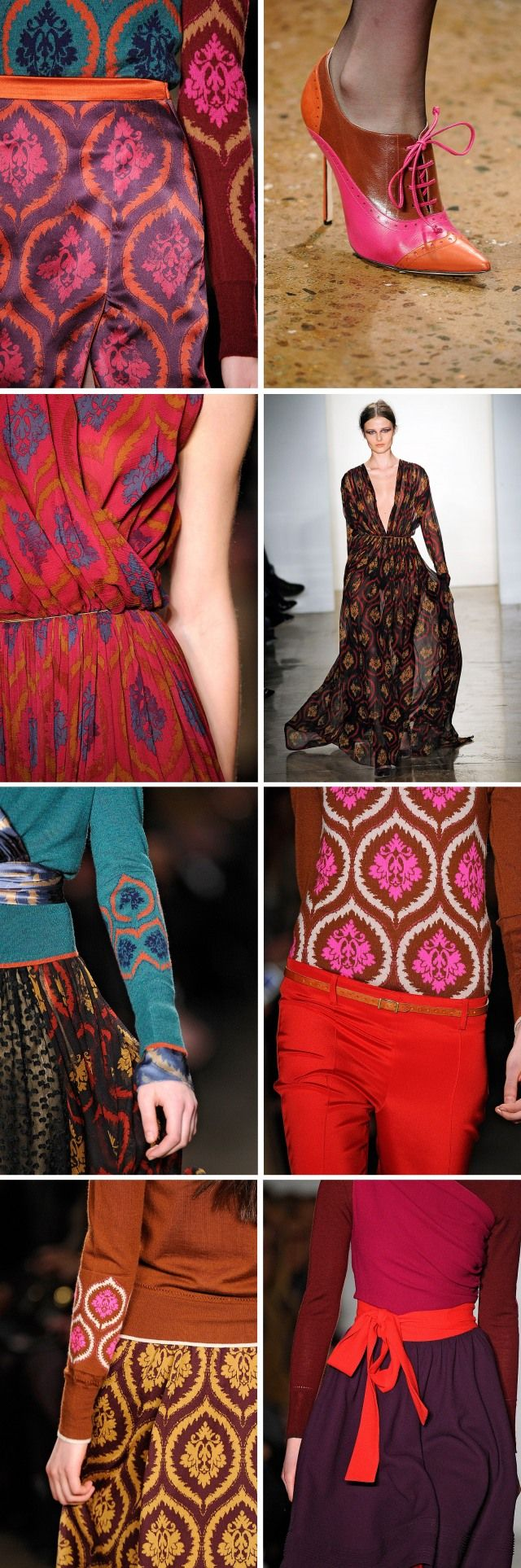 Sophie Theallet Fall 2012. #brocade #motif #textile  love the shoe style too but want in brown or black, adorable!