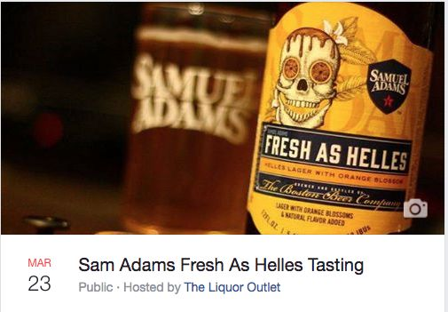 The Liquor Outlet invites you to a tasting of Sam Adams new Fresh As Helles. This lager is a sweet honey malt with a round smooth finish, with hints of orange blossom and citrus. This is a free event and open to the public. So if you are ready to try something new, we will see you here! https://www.facebook.com/events/1413080458749660/