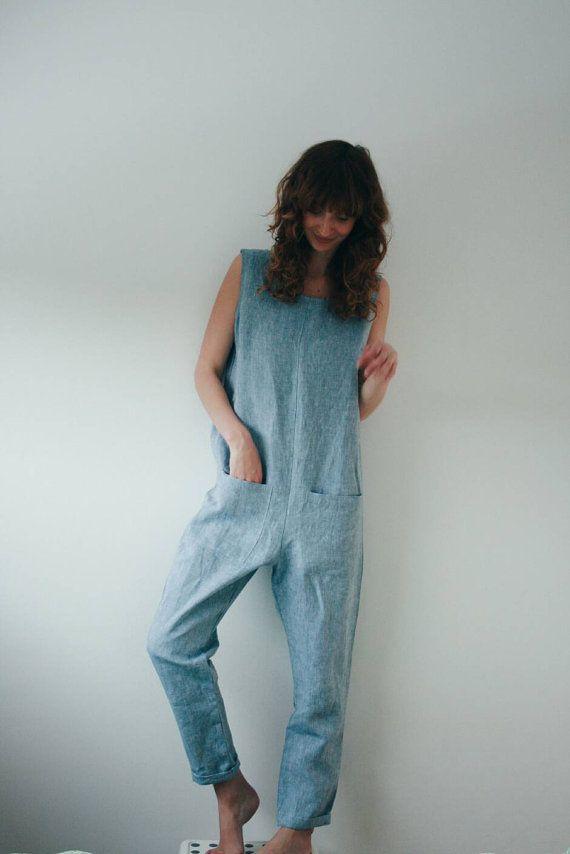 Light Blue Linen Jumpsuit Seaside Blue Jumpsuit Linen by OffOn