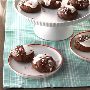 Hot Chocolate Peppermint Cookies Recipe -This is a variation of the cookies my mother made when I was growing up. Now my 13-year-old daughter and I bake them together. They're always a huge hit! The taste is like rich hot chocolate baked into a scrumptious cookie. —Larry Piklor, Johnsburg, Illinois