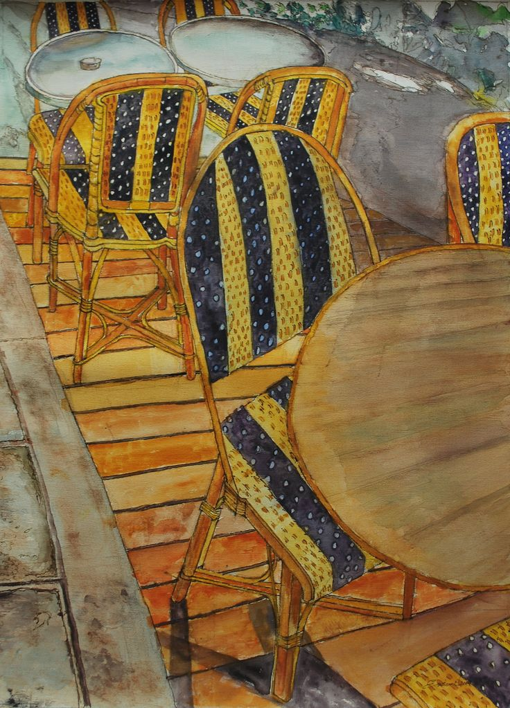 """title: """"Restaurant"""" (toscany) watercolor / acquarelle height: 60 cm  width:  45 cm made by Enrico Napoletano  in Florence (Italy); photo by EN unique piece"""