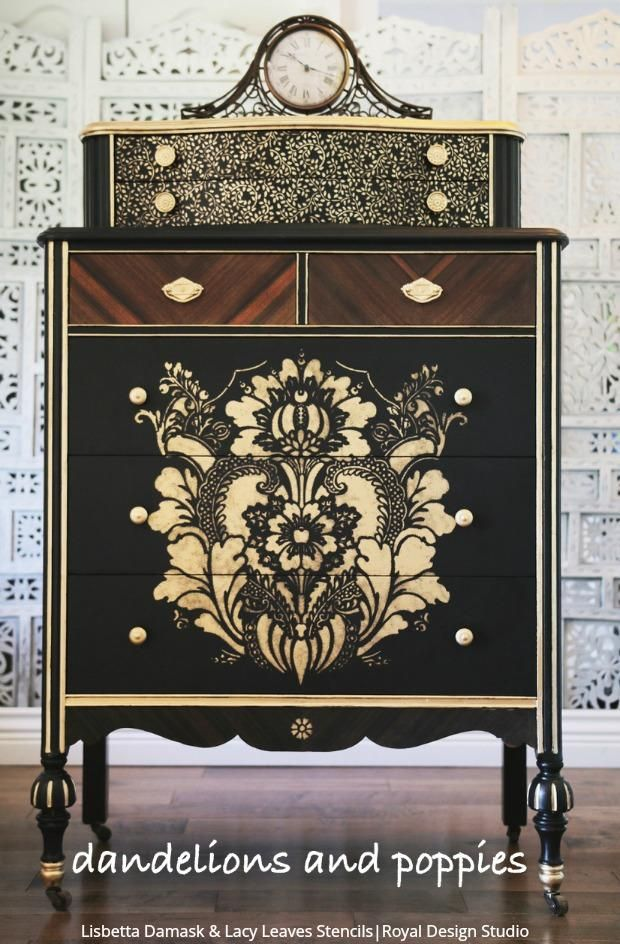 The Bold The Beautiful Furniture Painting Stencils Stencil Furniture Reclaimed Furniture Damask Wall Stencils