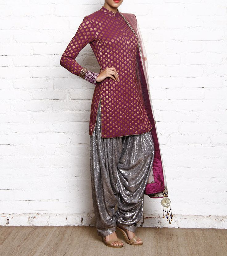 Purple Georgette Brocade Kurta With Sequined Patiala Salwar Vikram Phadnis