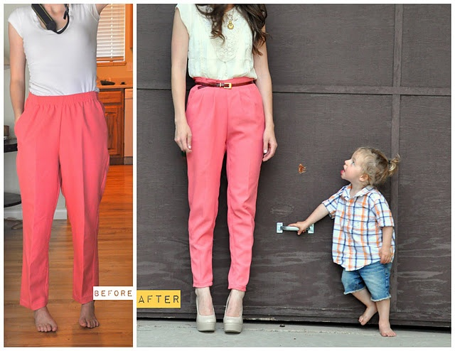 Granny Pants to Modern Skinnies {Tutorial!}: High Waist, Sewing Projects, Hot Pants, Granny Chic, Pink Pants, Thrift Stores, Highwaist, Granny Pants, Pleated Pants