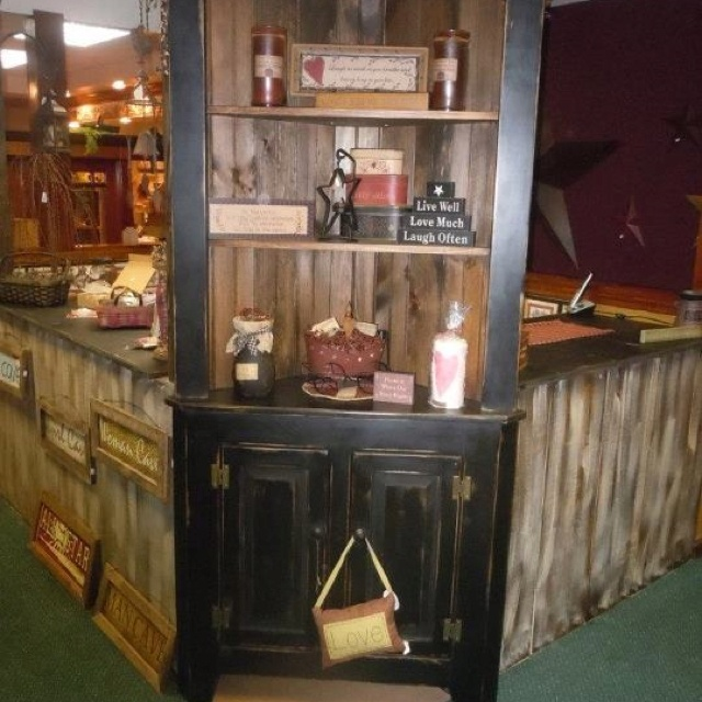 Corner Hutch Distressed For A Nice Worn Country Look