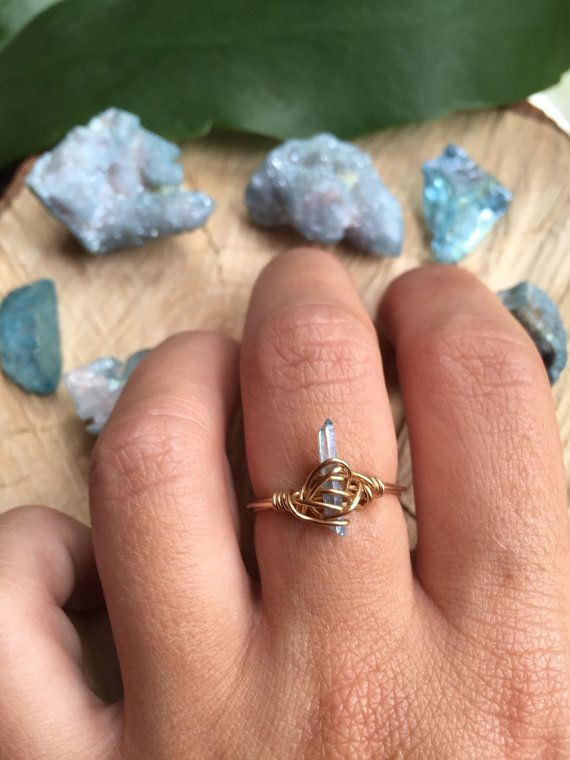 Dainty Aqua Aura Point Ring in 14k Gold Filled Size 7.5