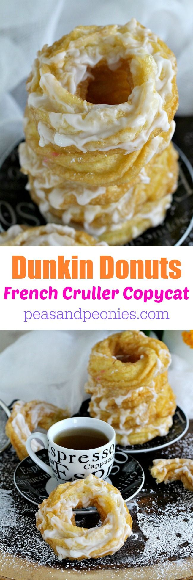 The Dunkin Donuts French Cruller Donut Copycat made in the comfort of your home with just a few ingredients is yeast free and will be ready in under 30 minutes. Peas and Peonies