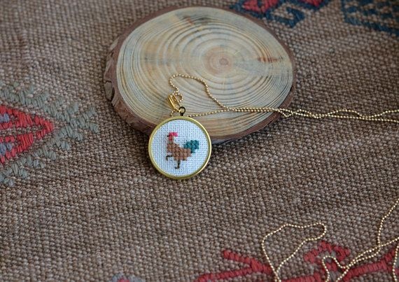Rooster Necklace by VeryBigCatStudio on Etsy