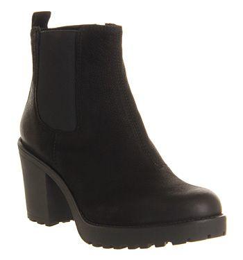 Vagabond Grace Heeled Chelsea Black Nubuck - Ankle Boots