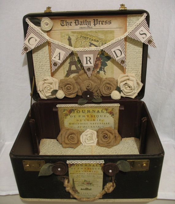 Vintage Suitcase Wedding Card Holder- card banner