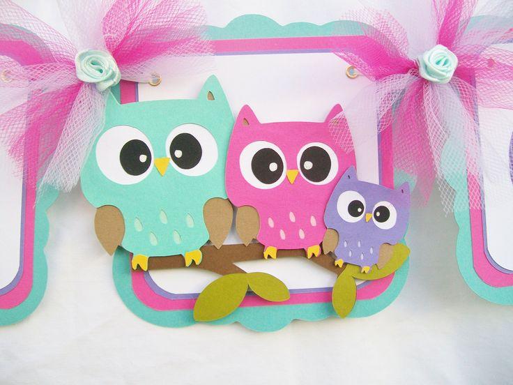 Owl baby shower banner, teal, fushia, pink, purple, lavendar, its a girl,. $30.00, via Etsy.