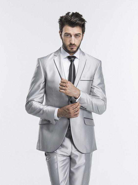 2018 Latest Coat Pant Designs Silver Wedding Suits For Men Slim Fit