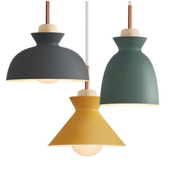 Modern Nordic Pendant Lights Scandinavian Loft Pendant Lamp Wood Metal Lampshade Luminaire Bar Cafe K Aluminum Pendant Lamp Pendant Light Fixtures Pendant Lamp
