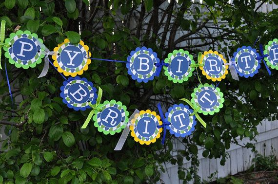Boys 1st Birthday Banner  Pinwheels and Argyle by sosweetpartyshop, $35.00